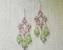 Green Chandelier Earrings, Rose Gold Chandelier Earrings, Rose Gold Earrings, Dangle Earrings, Green Bead Earrings