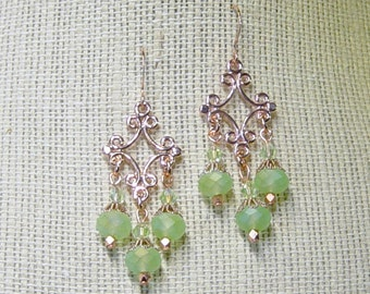 Green Chandelier Earrings, Rose Gold Chandelier Earrings, Rose Gold Earrings, Dangle Earrings, Green Bead Earrings