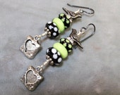Lampwork Beaded Earrings-Polka Dot Artisan Lampwork Dangle Earrings-Pewter Bird Earrings-Pewter Hearts Earrings-SRAJD-Artisan Beads