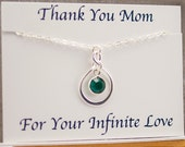 Mom Gift from Daughter or Son, Mother of the Bride Gift, Mom Necklace, May Birthstone Necklace, May Birthday Gift for Mom Infinity Necklace