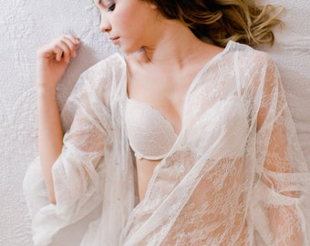 Heirloom Bridal Robe in Ivory Italian Lace