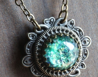 Neo victorian Jewellery - Necklace - Green Harlequin glass Pendant