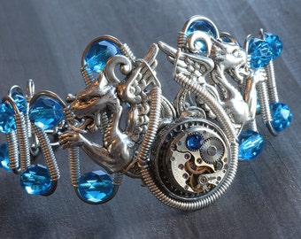 Steampunk Bracelet with blue glass