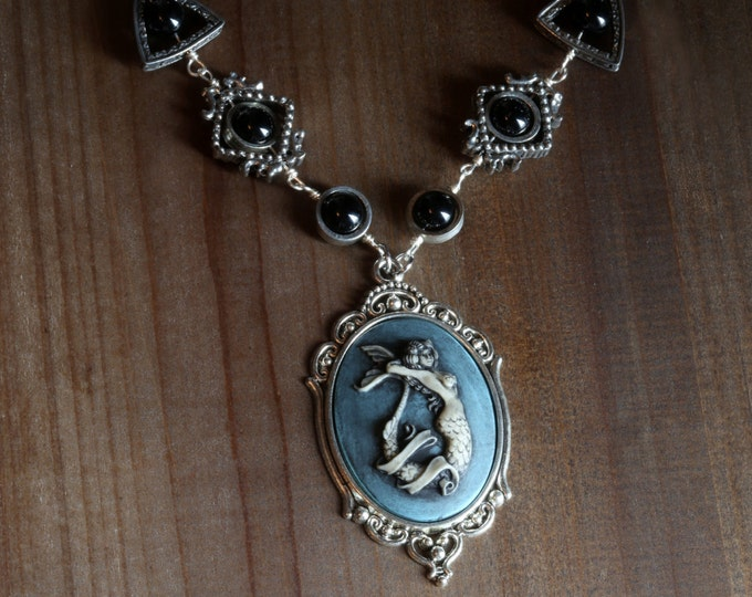 Neo Victorian Style Jewelry - Necklace - Blue Mermaid Cameo - Silver Tone