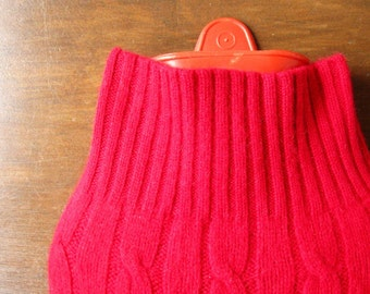 Hot Water Bottle Cosy. Hygge Decor. Gorgeous Red Cashmere Hot Water Bottle Cover. Eco-Friendly Housewarming Gift Idea. Gifts for Mom