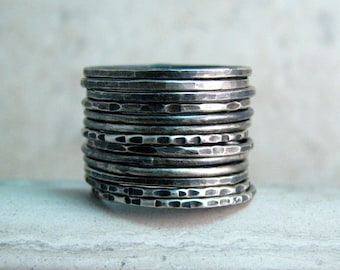 Dainty Skinny Stackable Rings Oxidized Silver Set or Single - 1mm - Spacer Bands for Gem Rings - Customize Size, Texture, Finish, Quantity