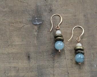 Rustic Brass and Aquamarine Bead Earrings