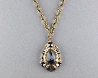 Victorian Inspired Smoky Quartz Teardrop Pendant on Vintage Brass Cable Chain