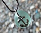 Scottish Sea Glass Anchor Charm Pendant, Handmade Gift from Scotland, Beach Necklace, Unique