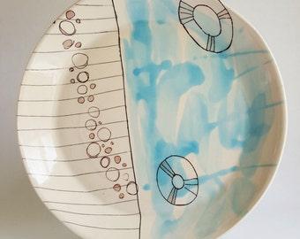 plate, handmade plate, dinner plate, dinnerware set, plate wall, appetizer plate, porcelain plate, home decor plate, modern plate, abstract