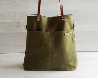 Waxed Canvas Simply Tote Bag in Army Green - unisex - multi functional tote bag - handbag - laptop bag - carry bag - macbook pro - large