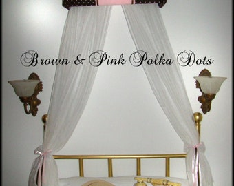 Upholstered Teester Princess Monogrammed Brown Pink FREE Personalized Crown Bed Canopy So Zoey Boutique custom design girls bedroom SALE