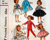 Vintage 1950s Doll Clothes Pattern Simplicity 2254 10 1/2 Inch Fashion Doll Clothing Genuine Vintage Sewing Pattern