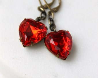 Red Heart Earrings / Red Rhinestone Earrings / Valentine Earrings to Say I Love You / Vintage Glass Earrings / Love Heart Dangle Earrings