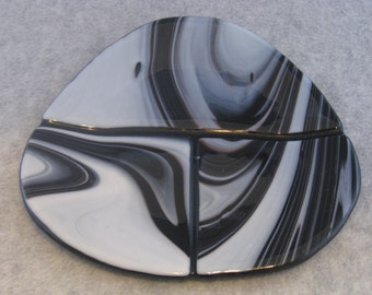 Olivine Shaped Fused Glass Platter in Black and Licorice Swirl