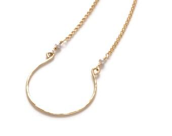 Charm Necklace, Gold Filled Charm Horseshoe  Good luck, Necklace, Handcrafted Gold Fill Charm Necklace