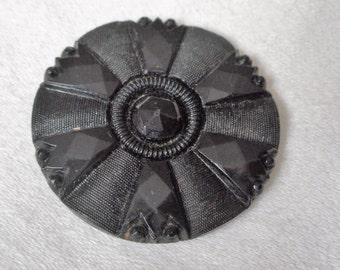 Large ANTIQUE Fancy Faceted Black Glass BUTTON