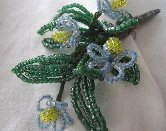 VINTAGE Blue Seed Beaded Flower Boutonniere Bouquet 3
