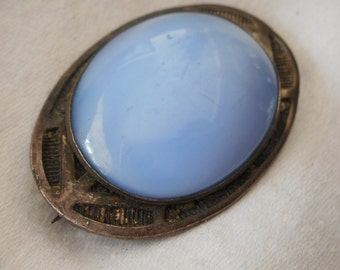VINTAGE Blue Stone Silver Costume Jewelry Brooch