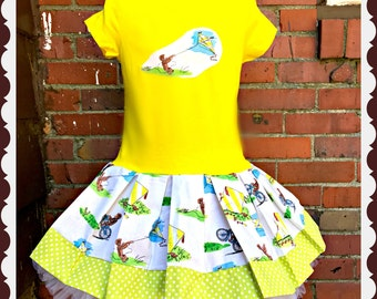 Girls Curious George dress 4/5 6/6X 7/8 10/12 14/16 ready to ship