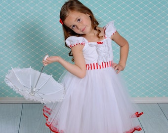 MARY POPPINS dress girls costume dress in  GIRLS Size 7/8 and 10/12 for tea party