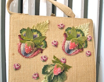 Strawberry Patch | Vintage 1960s Tan Woven Straw Burlap Purse with Velvet Stawberries and Stitch Pattern Patches - Top Handle - Hinge Frame