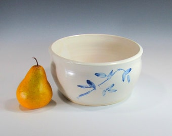 Ceramic Bowl - Large Serving Bowl - White and Blue Bowl - Pasta Bowl - Salad Bowl - Popcorn Bowl - Tableware - Fruit Bowl - Centerpiece
