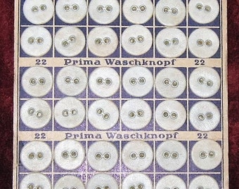 Antique German Buttons * Prima Waschknopf* from 1930's or 1940's * 3 Cards