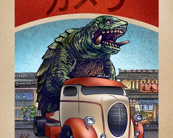 Gamera Monster Truck 8 x 10  signed print- Japanese Kaiju Monster in Truck