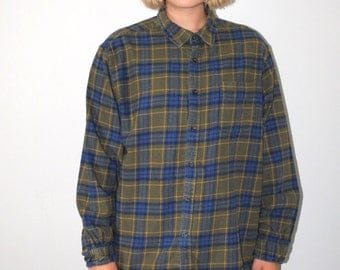 vintage plaid flannel shirt 90s grunge green + blue plaid button up shirt medium