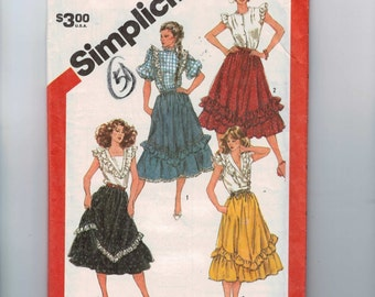 1980s Vintage Sewing Pattern Simplicity 5819 Misses Flounced Ruffled Country Skirt Size 10 Waist 25 UNCUT 80s  99
