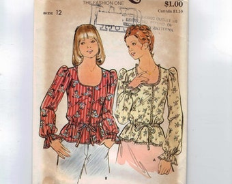 1970s Vintage Sewing Pattern Butterick 3953 Misses Peasant Style Blouse Scoop Neck Size 12 Bust 34 1970s UNCUT