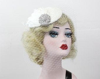 Wedding Veil, Birdcage Veil, Feather Fascinator, Bridal Veil, Lace Hat, Swarovski Crystal, Silver, High Fashion, Batcakes Couture