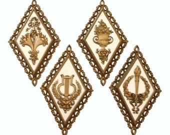 Set of Four Diamond Shaped Wall Plaques by Homco 1971