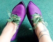 Purple shoes, QUEENIE, Handmade Leather Fairytale Shoes by Fairysteps in Violet, pansy, pink, green, etc you choose