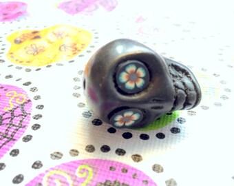 Gigantic Black Howlite Skull Bead or Pendant  with Crazy Flower Eyes