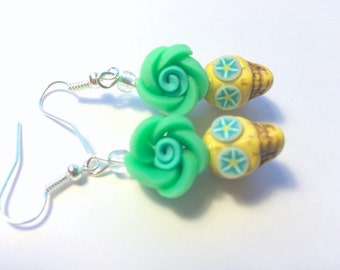 Yellow and Green Day of the Dead Floral Sugar Skull Earrings Small