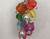 Rainbow Hello Kitty FOB keychain made with acrylic and glass beads glass pearls lovater clasp silver colored metal key chain
