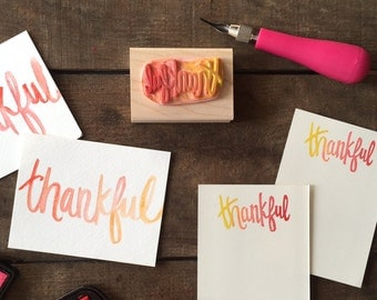 Limited Edition ~ Hand-Carved Rubber Stamp ~ thankful