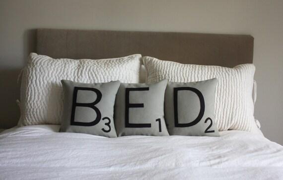 BED Scrabble Pillows - CASES ONLY // Scrabble Tile Pillows // Pillow Covers // Big Scrabble Letters // Bedroom Decor // Nap Queen // Sleep