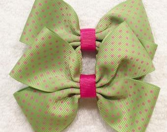 Green Polka Dot Bows Green And Pink Bows Polka Dot Hair Bows Barrettes And Clips Girl Polka Dot Bows