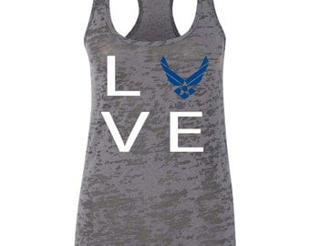 Love With Air Force Symbol Burnout Tank Air Force Mom Tank Air Force Wife Tank Air Force Girlfriend Tank Airman