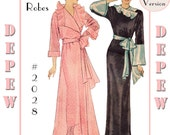 Vintage Sewing Pattern Reproduction 1930's Ladies' Robe #2028 - Full Sized PAPER VERSION