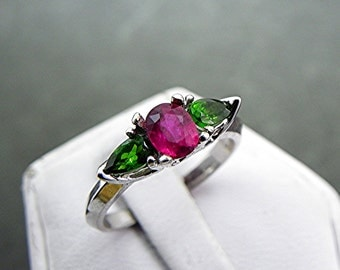 AAA Vivid Red Ruby Natural   .86 Carats   14k white gold ring flanked with two  .30carat pear shape Chrome Diopside 1039