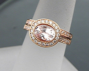 AAA Peach Sapphire Untreated   8x6mm  1.48 Carats   Oval 14K Rose gold Halo bridal set with .35cts of diamonds. 793