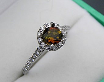 AAAA Watermelon Tourmaline Bi color Rare Round   5.16mm  .58 Carats   in 14K white gold Halo Engagement ring w/ .50 carats of diamonds 1237a
