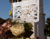 """Banderitas (12 pieces) Papel Picado Mini Flags (7"""" x 5"""" with a 12 inch dowel) Wedding Personalized Fiesta Wedding with names and date"""