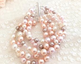 Blush tones Multi Strand Bracelet, Pink Pearl Wedding Bracelet, Bridal Bracelet, Pearl Wedding Bracelet, Statement 5 strand
