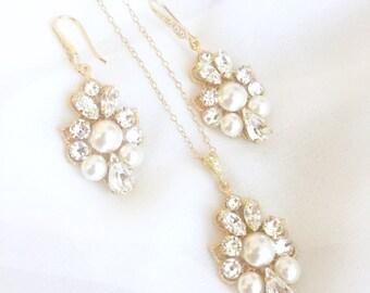 Gold Bridal Jewelry Set, Gold Rhinestone Jewelry Set, Bridal Jewelry Set, Wedding Jewelry Set, Gold Wedding Set, Pearl Jewelry Set Swarovski