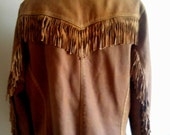 Milky Coffee Colored Leather Cowgirl Fringe Jacket